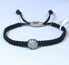 David Yurman Men's Meteorite Tile Bracelet Black Nylon Silver Adjustable New