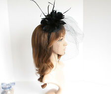 2015 Church Derby Wedding Sinamay Feather & Veil Fascinator Cocktail Black 533