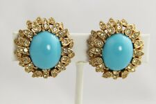 CINER FX TURQUOISE CABOCHON PAVE RHINESTONE FLOWER EARRINGS PRINCESS COLLECTION