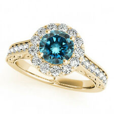 1.58 Carat Huge Fancy Blue Diamond Solitaire Diamond Ring 14k Yellow Gold Beauty