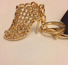 Stylish Diamante Gold High Heel Shoe Keyring New Bling