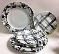 NEW SET OF 8 FOR 4 PEOPLE PINK TUXEDO WHITE+BLACK+GOLD DESSERT+DINNER PLATES