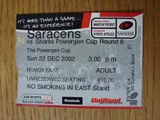 Billete De 22/12/2002: Unión de Rugby-en Watford-sarracenos V Venta [Powergen Taza]