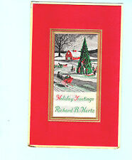 Woven Silk Victorian Sled Reindeer Snow Cottage Xmas Tree Greeting Card Gift Nan
