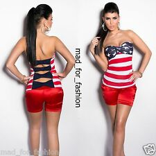 SEXY BANDEAU TOP IN AMERICAN FLAG PRINT WITH BACK CUT OUTS. UK 8/10 EU 36/38.