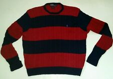 Mens XL Polo Ralph Lauren LS Cable Knit Cotton Sweater Striped Freddy Krueger