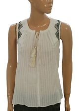127649 New Floreat Anthropologie Milana Embroidered Tank Ivory Blouse Top M
