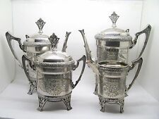4 PIECE TAUNTON SILVERPLATE VICTORIAN AESTHETIC DESIGN TEA SET