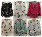 Ladies Fashion Gypsy Chiffon Band Hem Butterfly Blouse Top S/M,M/L,L/XL,XXL