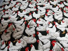 CHICKEN PRINT FABRIC  Black/White 100% Cotton  By the yard