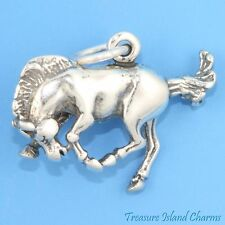 BUCKING BRONCO HORSE 3D .925 Solid Sterling Silver Charm NEW