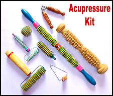 Acupressure Full Body Wooden Massager Tools + Acupuncture Kit (Total 8 products)