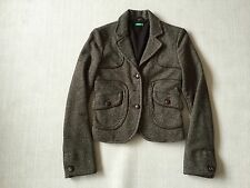 Benetton brown tweed fitted Jacket blazer 38/Small Wool/silk  Made in Italy