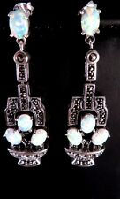 Victorian Art Deco quality Sterling Silver Gilson Opal marcasite Dangle earrings