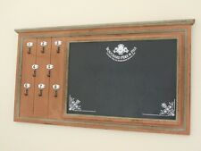 VINTAGE LOOK WOOD NOTICE BOARD MEMO CHALK BOARD WITH KEY HOOKS WALL MOUNTED