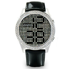 Phosphor MD005L Black Crystal Watch Lether Bracelet Mechanical Digital DK142 EMS