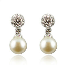 14k white Gold plated with Swarovski crystals pearl dangle wedding earrings