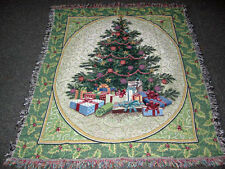 Holly Tree Christmas Tapestry Afghan Throw