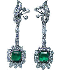 "Vintage Emerald 3.30ct Diamond Dangling Earrings 14Kt White Gold 2"" Long Estate"