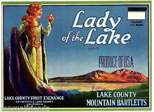Lady of The Lake Pears Fruit Crate Label Vintage Art Print Decor Kelseyville AC