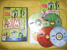 PC GAME-THE SIMS-TRIPLE DELUXE-5 CD-Computer-Gioco-Games-INGLESE