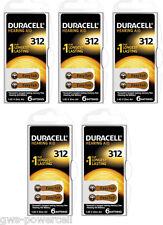 30 x Duracell Hörgerätebatterien Typ 312 Blister P312 ac312 DA312 PR312H