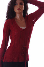 Elle Womens Crocheted Baby Doll Red Glitter Sweater Top Shirt Size Small NEW NWT