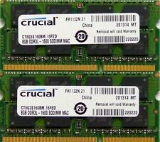Crucial mémoire ram 16GB kit DDR3 PC3-12800,1600MHz pour 2012 Apple Macbook Pro