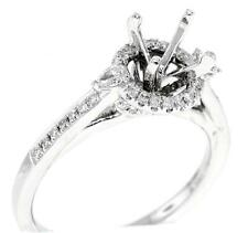 Halo Engagement Semi Mount Ring Setting Diamond VS1 Pear 18k White Gold 0.47ct