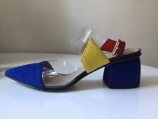 Gianna Meliani royal blue yellow red sling suede pumps Size 39