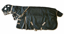 Horse Blanket Combo Waterproof Turnout Hood 1200D Heavy Weight Black 72 Small