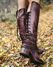 FAST SHIP! BNWB FREEBIRD BY STEVEN COAL PLUM LEATHER BACK LACE TALL BOOTS US 7