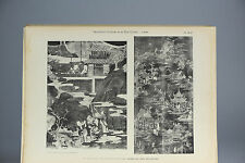 Antique ca1900 Print Chinese Art PL50-42 Porcelain Plates Museum China Qing