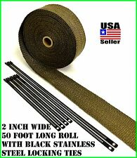 "Thermal Header Pipe Tape Titanium Lava Exhaust Wrap 2""x 50ft Black Ties Kit"