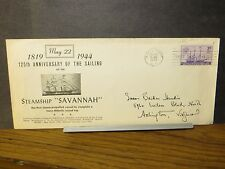 SS SAVANNAH Naval Cover 1944 WWII STEAMSHIP Cachet