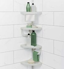Corner Tension Pole Caddy Rack Holder Shelf Shower Bathtub Bathroom Organizer
