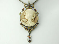 GB Antique Vintage   Dangle Topaz Diamante Rhinestones Cameo Necklace Pendant
