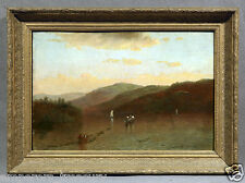 1879 Mountain Riverside Landscape Oil Painting signed with Gilt Wood Frame