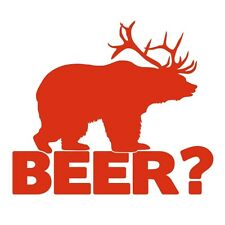 BEAR+DEER=BEER! Funny Hunting Joke Car Van Window Vinyl Decal Sticker Tomato Red
