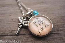 Tinkerbell Faith Trust & Pixie Dust Pendant Necklace Fairy Silver FREE BAG