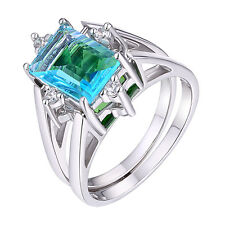 #2288 Swiss Blue & Forest Green Helenite 2 in 1 Flip Ring in Sterling Silver