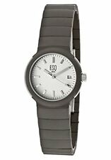 ESQ WHITE DIAL DATE ST.STEEL CASE TITANIUM BRACELET WOMEN'S WATCH 07100728 NEW
