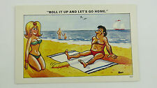 1960s Risque Funny Postcard Blonde Big Boobs Bathing Beauty Double Entendre