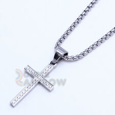 Men Stainless steel Gold Silver Micro Pave CZ Cross Pendant Necklace Chain