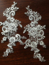 Pairs Off White Floral Flower Motif Venise Lace Trim Lady Dress Decor 24 X 10 cm