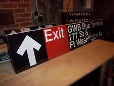 NYC COLLECTIBLE SUBWAY NY GEORGE WASHINGTON BRIDGE BUS TERMINAL EXIT FT WASH AVE