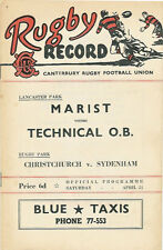 Technical O.B, Linwood, Marist 24 Apr 1954 Canterbury NZ Rugby Programme