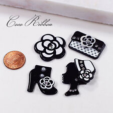 12 pcs 30mm Black Fashion Shoes Flower Purse Hat Set  Flatback Resin Cabochon