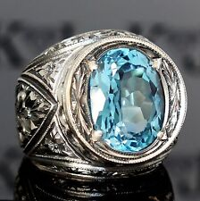 Ring Blue Topaz Sterling Silver unique handcrafted mens jewelry