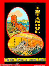 Istanbul Turkey Turkish Vintage Travel Art Advertisement Poster